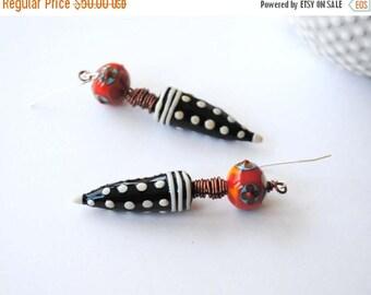 SALE Funky Modern Spike Earrings, Polka Dot Earrings, Floral Earrings, Wire Wrapped Earrings, Unique Artisan Earrings, Black and White Earri