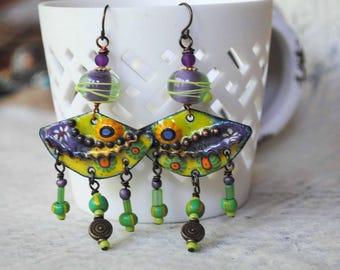 Halloween Earrings, Dangle Earrings, Green Purple Earrings, Funky Earrings, Floral Earrings, Artisan Enamel Earrings, Lampwork Bead Earring