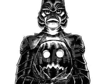 Monster Holiday: Creature Original Halloween Ink Drawing
