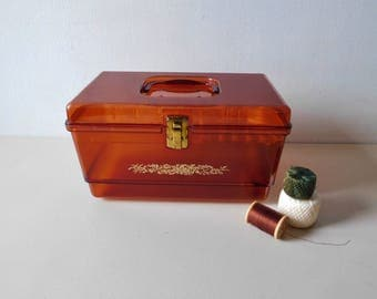 Vintage 1970s sewing box Transparent amber sewing box