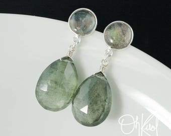 Blue Labradorite & Moss Aquamarine Teardrop Earrings - Gold or Silver