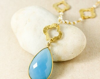 ON SALE Gold Brushed Clover & Blue Chalcedony Teardrop Necklace - Dreamy Spring Jewelry - Boho Necklaces