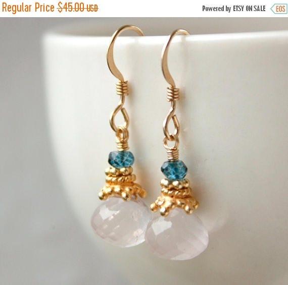 ON SALE Gold Pink Rose Quartz Earrings - with Mystic Blue Quartz - Soft Pink Gemstone Earrings, 14K Gf
