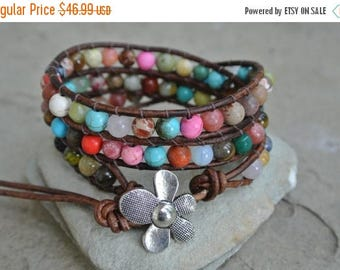 50% OFF SALE JustHipStuff Gemstone  Beaded Leather Wrap Bracelet
