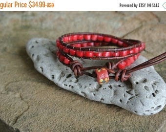 SALE 60% OFF Rojo Coral Beaded Leather Wrap Bracelet