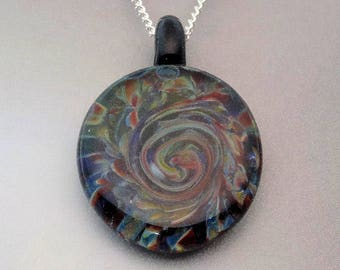 Blown Glass Pendant ~ Trippy Pendant ~ Slice of Color ~ Art Glass Necklace ~ Lampwork Focal Beads ~ by J Hills Glass Art