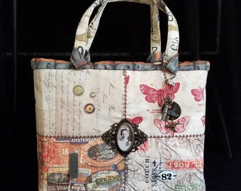 Tim Holtz Eclectic Elements Handbag, Double Handle or Shoulder Strap, Ideaology Purse, Steampunk Handbag Tote, Grunge Purse, Fabric Tote