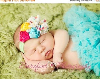 Baby Headband, Birthday Headband, Hot Pink Turquoise Polka Dot Satin & Chiffon Flowers w/ Crystals Band or Hair Clip, Child Girls Headband