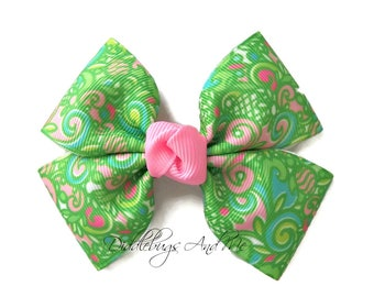Green Paisley Hair Bow, Spring Hair Clips, Bows For Toddlers, 4 Inch Bows, Easter Barrettes, Girl's Hair Bow, Pink And Green Hair Bow,