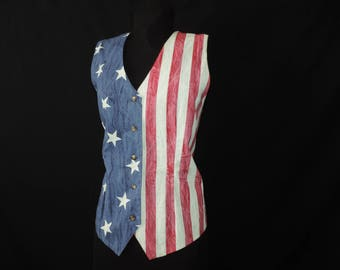 american flag vest vintage patriotic red white and blue stars and stripes sleeveless top XL