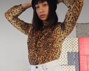 Vintage 70s leopard button-down blouse