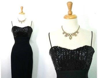 1950s Dress Black Sequin Crepe Sweetheart Jay Herbert Spaghetti straps Cocktail dress