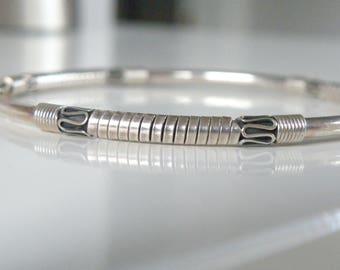 """Vintage Sterling Silver 925 Ethnic Station Signed Balinese India BA Bangle Bracelet Slip on 7.5"""""""