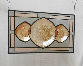 Stained Glass Window Panel, Stained Glass Transom Window, OOAK Valance Marigold Jeannette Floragold Louisa Pattern Depression Glass Plates