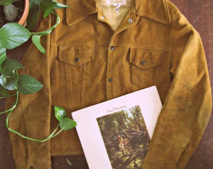 Vintage 70s suede jacket / Hippie Boho caramel suede jacket