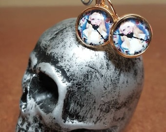 12mm rose gold lever back alice in wonderland clock face earrings