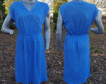 70s Dress, Leaf Print Dress, Vintage Dress, Vintage Costume, Mari Lynn Fashions, Swim Cover, Blue and White, 70s Costume, Surplice Dress