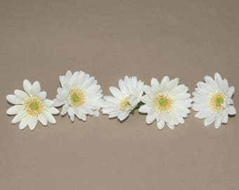 5 Small Creamy White Daisies - Artificial Flower Heads, Silk Flowers