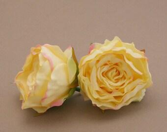 2 Small YELLOW Ruffle Peonies  - Artificial Flower Heads, Silk Flowers