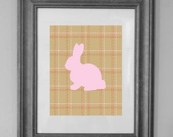 Pink Bunny Tweed Plaid Printable Art / Nursery Decor / Easter Decor / Baby Shower / Home Decor / INSTANT DOWNLOAD