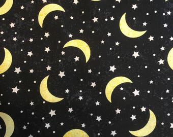 Moon stars fabric etsy for Moon and stars fabric