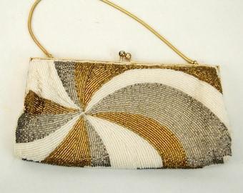 1960s beaded purse clutch evening bag silver gold white microbeads mod sunburst