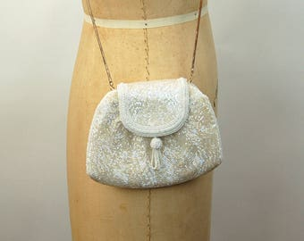 Vintage evening bag white beaded purse with chain strap convertible bag clutch Delill bag