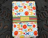 3 Burp Cloth Gift Set- Alphabet, Stripes,and Navy Chevron Fabrics- Chenille Backed Burp Set- Boy Baby Shower Gift- Gender Neutral Baby Gift