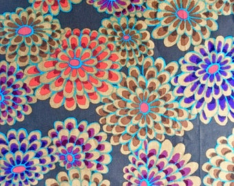 Kaffe Fassett OOP, rare, Floating Flowers, brown, one yard floral fabric