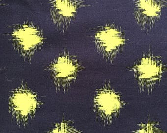 Kaffe Fassett OOP, rare, Faux Ikat Dot, navy/lime, by the half yard, yardage available