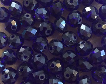 35 x faceted glass 8mm abacus dark blue beads