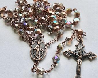 Handmade Catholic Rosary, Copper Rosary, Copper Rainbow Rosary, Vintage Style Rosary, Linked Rosary, Rosary Necklace, Prayer Beads