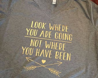 Look where you are going ladies v neck tee