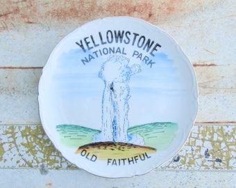 State Plate Vintage Souvenir Decorative Yellowstone National Park Old Faithful