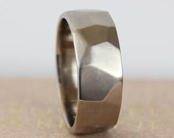 Wide Mens White Gold Wedding Band, 14k Palladium White Gold 8mm Wedding Ring for Him