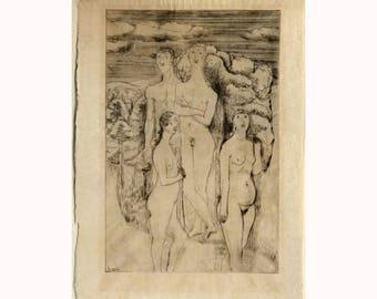BAUHAUS etching GERHARD MARCKS radierung 1928 nudes