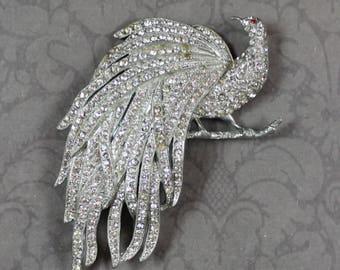 Vintage Pot Metal Rhinestone Bird Brooch