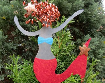 Metal Art Mermaid Christmas Tree Topper Recycled Metal Tree Ornament  Magenta Coral Beach House Decor Ocean Theme Tree Topper