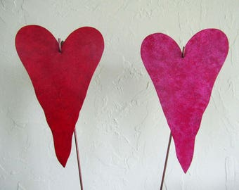"Metal Heart Garden Art Stakes Rose Red Pink Hearts Yard Decor Recycled Metal Valentine Wedding Anniversary 5"" x 8"""