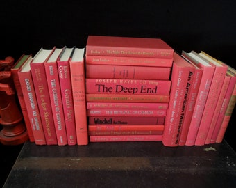 Red Book Wall - 24 Book Stack - Home Staging - Repurpose Book Collection - Foot of Books - Book Lovers Gift