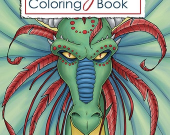 Dragons Coloring Book, Fantasy Coloring Book, Printable Coloring Book, Adult Coloring Book, Digital Download by Samantha Jean Illustrations