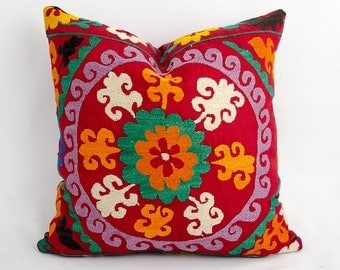 Vintage silk embroidery suzani pillow cover, red suzani cushion, decorative home pillow
