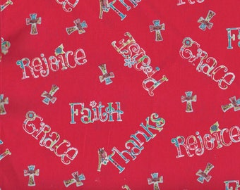 "PRAISE FABRIC Cotton Fabric, 1 yard x 42"" inches wide.  Brand new."