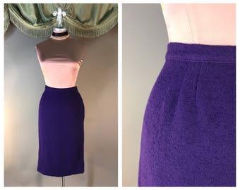 Vintage 50s skirt 1950s VIOLET PURPLE WOOL boucle tweed fitted wiggle wool pencil skirt