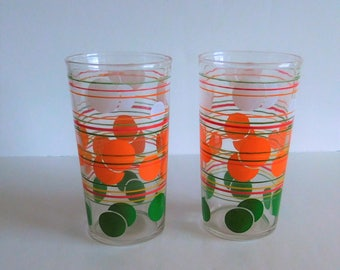 Hazel Atlas Flying Dots Vintage Striped Drinking Glasses - 1950's