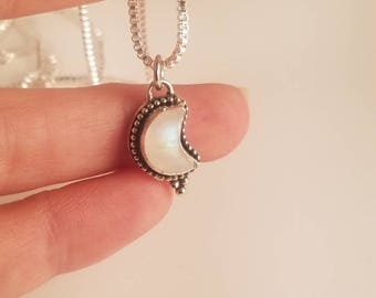 Sterling Silver -- Crescent Moon-- Rainbow Moonstone Necklace