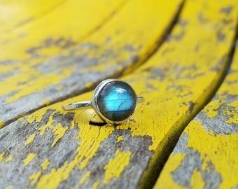 Sterling Silver Boho Labradorite Comet Ring, sz 7.75