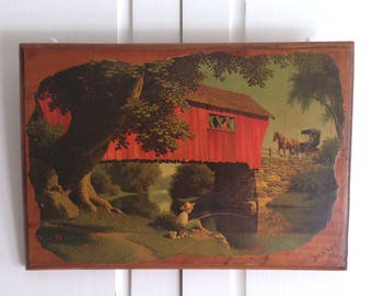 Vintage Paul Detlefsen Red 'Covered Bridge' litho print decoupaged plaque. Boy & dog fishing, horse drawn carriage. Country Farmhouse decor.