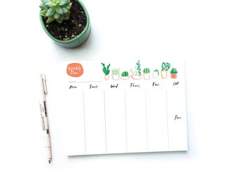 Succulents Weekly Planner Notepad