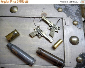 BANG BANG Baby. Gunslinger Brass Pistol Earrings